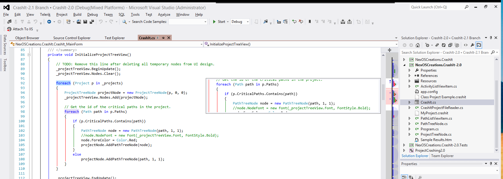 A partial full screen view of AllMargins 2012 running in Visual Studio 2012 with the Light theme.