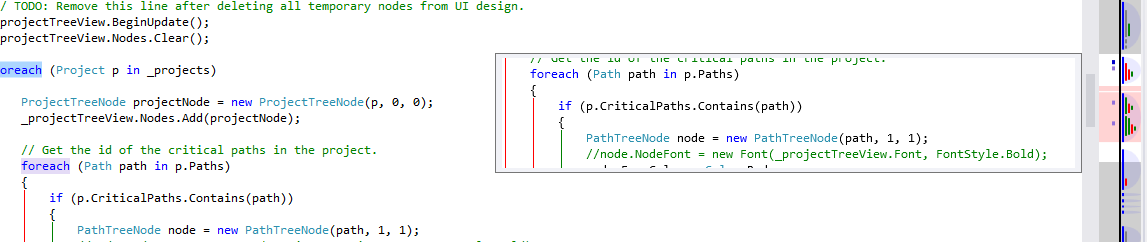 The OverviewMargin tooltip, along with the CaretMargin, ErrorsToMarks margin, and StructureMargin running in Visual Studio 2012 with the Light theme.