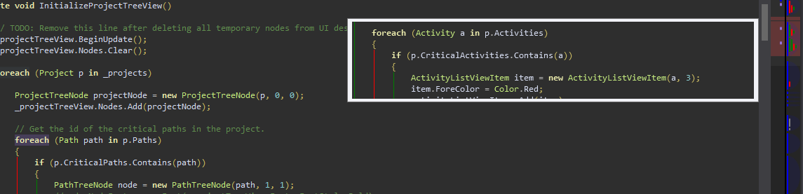 The OverviewMargin tooltip, along with the CaretMargin, ErrorsToMarks margin, and StructureMargin running in Visual Studio 2012 with the Dark theme.