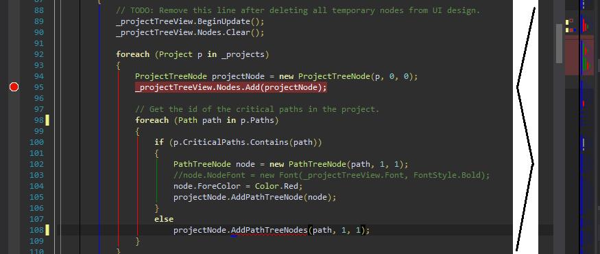 The OverviewChangeTracking Margin with also the CaretMargin, ErrorsToMarks margin, MarkersToMarks Margin and StructureMargin running in Visual Studio 2012.