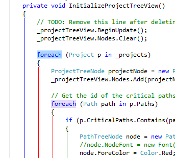StructureAdornment running in Visual Studio 2012 with the Light theme.