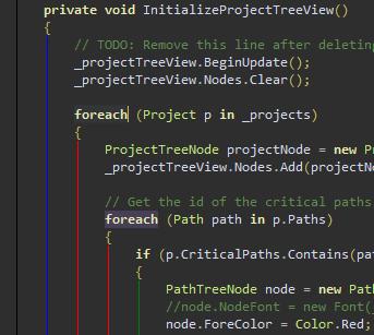 StructureAdornment running in Visual Studio 2012 with the Dark theme.